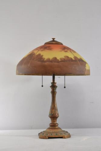 ANTIQUE SCENIC REVERSE PAINTED TABLE LAMP W/ HAND PAINTED BASE