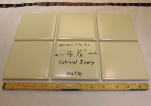 6 pcs...Colonial Ivory...Ceramic Tiles made by Mosaic Tile Co.…NOS…4-3/8 inches