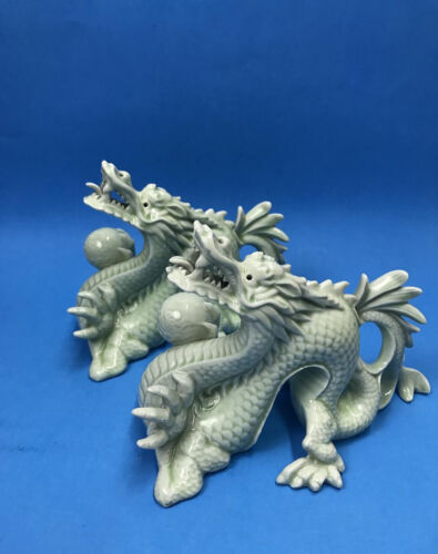 Pair Of Vintage Chinese Celadon Dragons Holding Ball Figurines Statues Porcelain