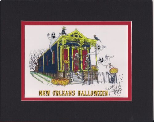 NEW ORLEANS HALLOWEEN Jamie Hayes MATTED, 8X10, SIGNED GICLEE, GHOST, SKELETON