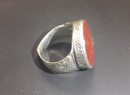 Persian Safavid Dynasty Authentic Silver & Carnelian Signet Seal Ring