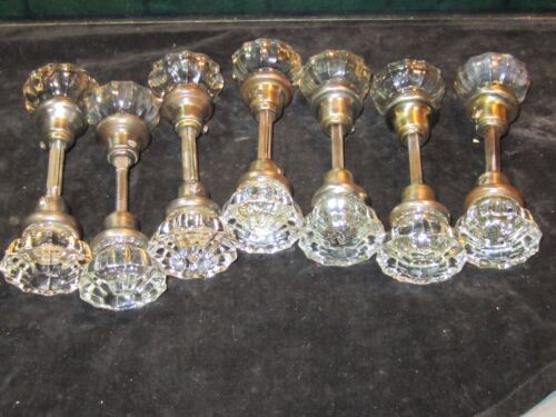 7 PAIR ANTIQUE FLUTED GLASS DOOR KNOBS