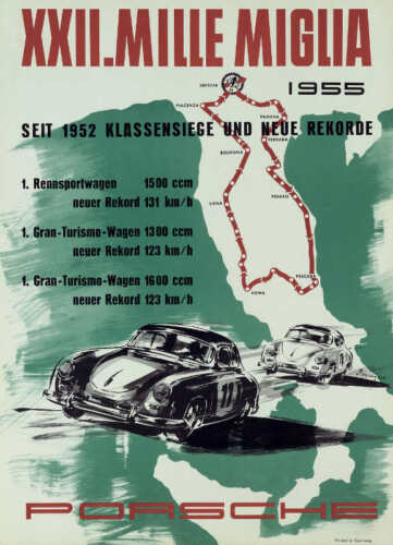VINTAGE 1955 XXII MILLE MIGLIA ITALY AUTO RACING POSTER PRINT 36x26 9 MIL PAPER