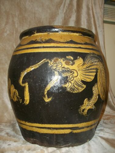 ANTIQUE LARGE PRIMITIVE CHINESE DRAGON POT 32  LBS. LOOK!