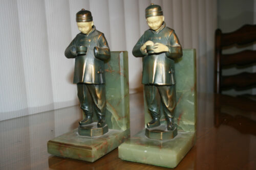 "JB Hirsch Vintage French Bronze Bookends ""Chinese Man"" Face & Hands r Celluloid"