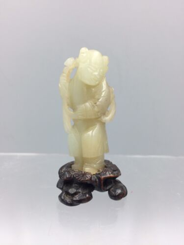 Chinese Antique Qing Dynasty Jade Carving of a Boy