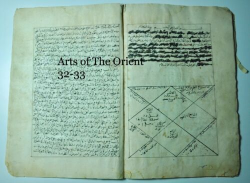 ANTIQUE MANUSCRIPT ARABIC FRAGMENT RUHANI OCCULT SUFI ASTROLOGY HOROSCOPE 1553AD