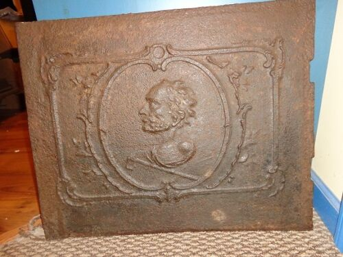 Antique 18th.c Cast Iron European Stove Plate, Profile of a Man, Stoveplate