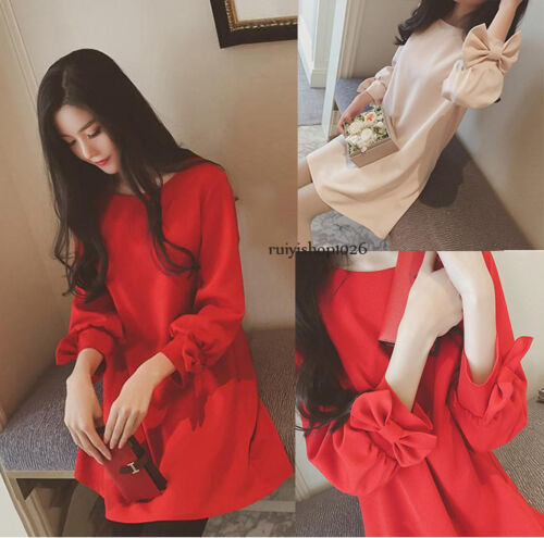 Autumn Fashion Pregnant Women Long Sleeve Korean Bow Tie A Line Maternity Dress