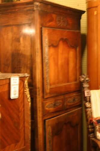 ANTIQUE FRENCH ARMOIRE, BONNATIERE, 2 COMPARTMENTS,, 19 C.WALNT ORIGINAL