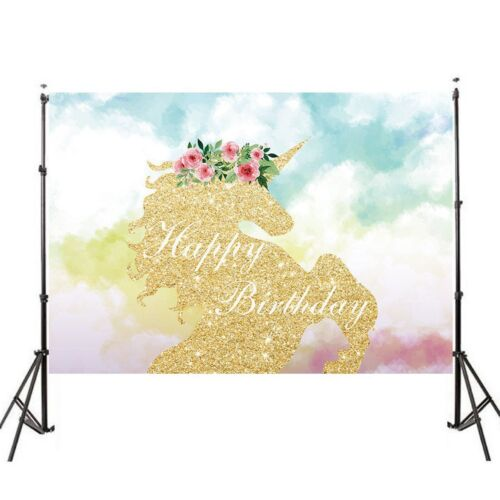 Unicorn Cartoon Photography Backdrop Baby Vinyl Photo Background Studio Props