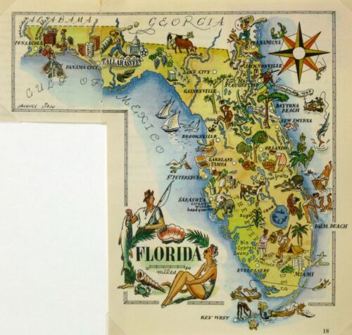 Florida Vintage Pictorial Map  (Small/Postcard size)