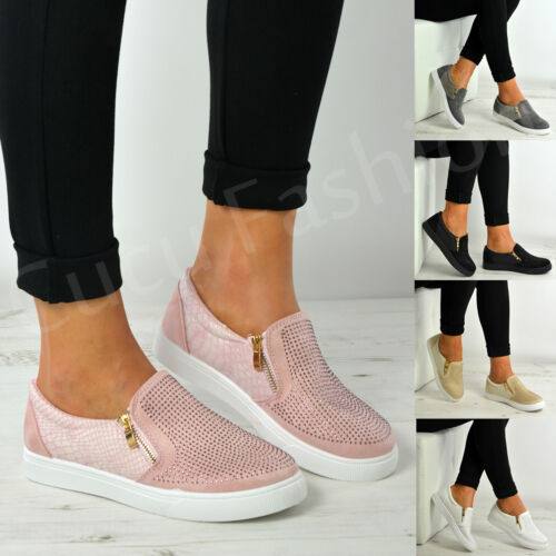 New Womens Ladies Slip On Studded Flat Trainers Zip Shoes Size Uk 3-8