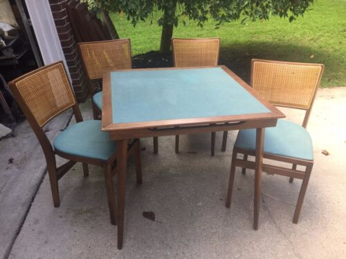 Mid Century Card Table Set Folding Cane Chairs STAKMORE Mid-Century Wood Vintage