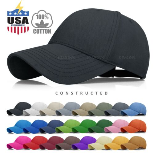 Constructed Baseball Cap Hat Cotton Adjustable Polo Style Plain Solid Mens  Women 9be677e9594a