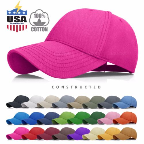 Constructed Cotton Baseball Cap Hat Adjustable Polo Style Mens Solid Womens