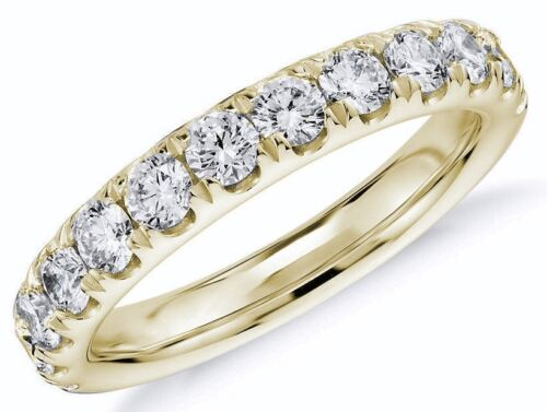 Diamond Wedding Ring band 1.10 Carat Round Cut 14k Yellow Gold in French Pave