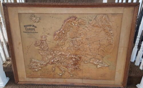 Vintage 1899 Relief Map of Europe Central school Supply House Antique Rare Map