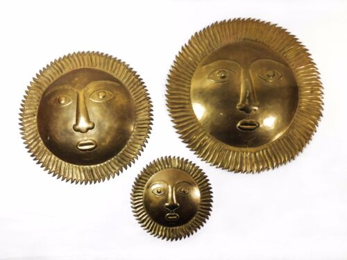MODERNIST VINTAGE SM/MED/LG TRIPLE BRASS SUN PLAQUES W/FACES, WALL DECOR (INDIA)