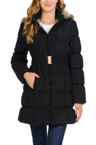 Auliné Collection Women's Faux Fur Quilted Insulated Coat Puffer Jacket Parka