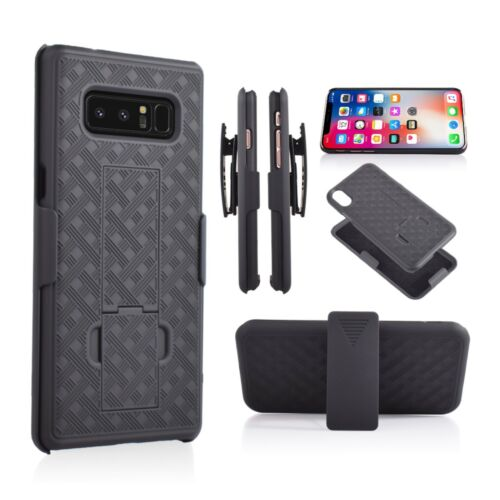FOR SAMSUNG GALAXY NOTE 8 BLACK HOLSTER SHELL COMBO CASE BELT CLIP KICKSTAND