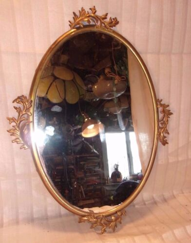 """Antique brass oval frame/mirror  20x14 ovval mirror 19x12 3/4  molding 1/2"""""""