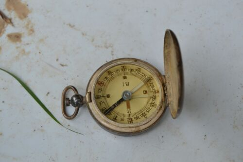 Chinese Military Supplus Silver Plated Officer Pocket Compass Original Period Items - 586