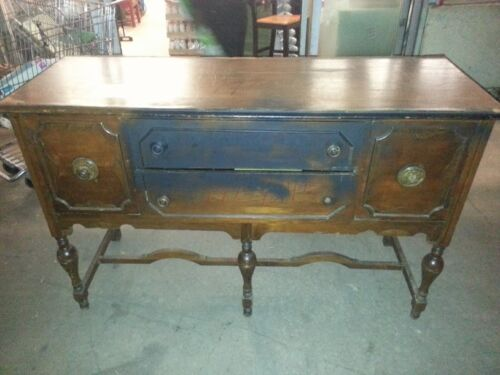 Early 1900's Antique Solid Wood Sideboard Server or Buffet