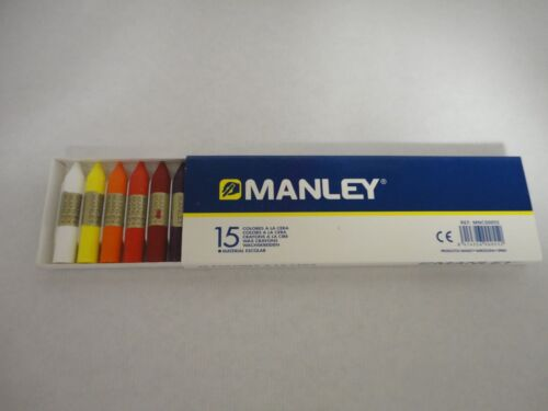 LOT DE 15 CRAYONS DE CIRE MANLEY DIFFERENTES COULEURS