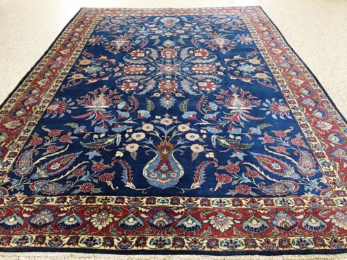 9 x 13 ANTIQUE PERSIAN TABRIZ Hand Knotted Wool NAVY RUST Oriental Rug Carpet