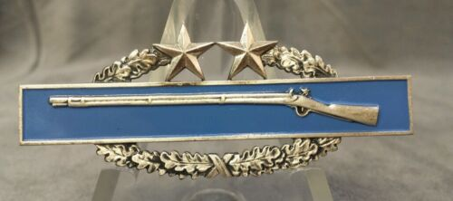 US ARMY RARE COMBAT INFANTRY BADGE 3RD AWARD Simco 1/20th Silver clutch back Original Period Items - 13983