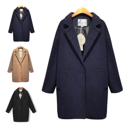 NEW Womens Winter Warm Wool Lapel Long Coat Trench Parka Jacket Overcoat Outwear