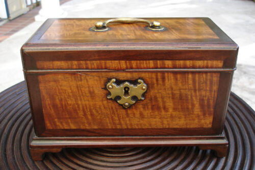 Antique English TEA BOX Wood Caddy Chest Small Made in England 1820 Nice