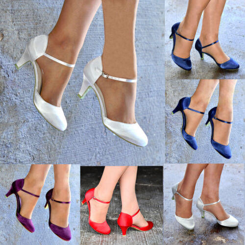 LADIES PLAIN SATIN LOW KITTEN HEEL ANKLE STRAP EVENING PARTY SHOES SIZES 3-8