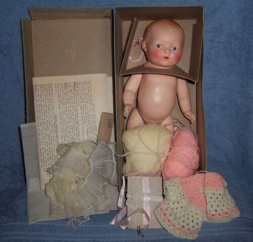 Antique Vintage BUCILLA Sewing Composition Doll Kit~Doll~Box~Clothes Materials