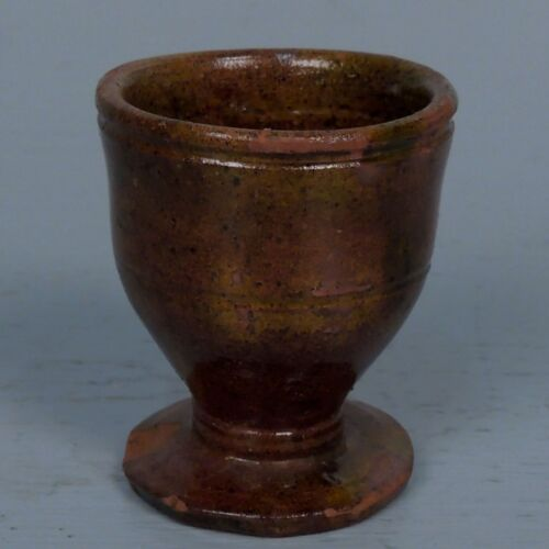 Rare Antique Redware Pottery Egg Cup Or Holder From A Pennsylvania Estate - PT