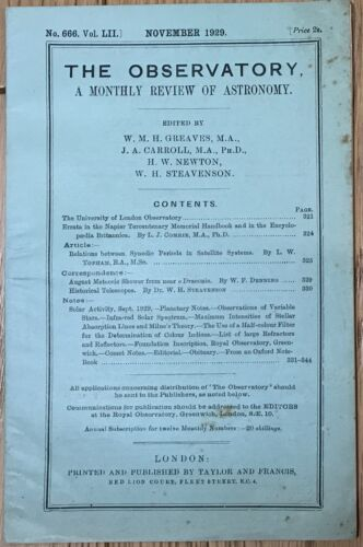 The Observatory a monthly review of astronomy London 1929 libro astronomia