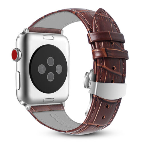 For iWatch Apple Watch Series 3 2 1 42mm Leather Wrist Band Strap with Buckle