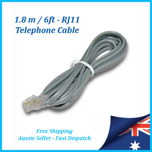 RJ11 Telephone Cord Cable 1.8 mtr / 6ft - Phone Line, ADSL Modem, Fax Socket