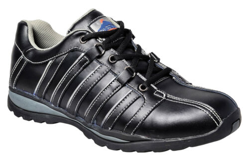 Men's Steel Toe Work Trainer Shoe Leather Safety Black 7.5-13, NEW Portwest FW33