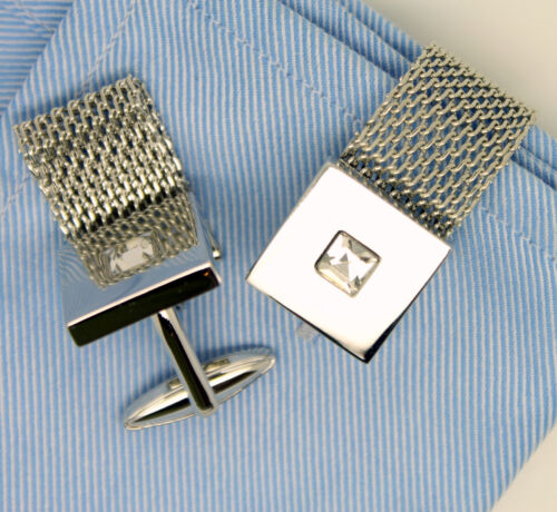 Silver Wrap Around Chain Cufflinks with Stone