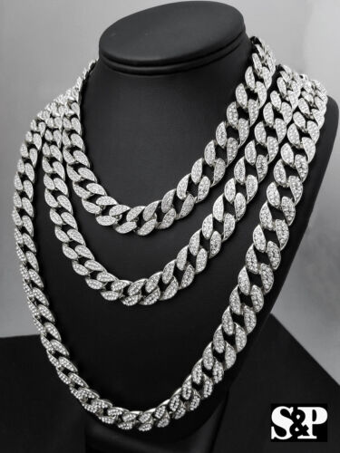 """Hip Hop Quavo Full Iced Out 16"""",18"""", 24"""", 30"""" Miami Choker Cuban Link Necklace"""