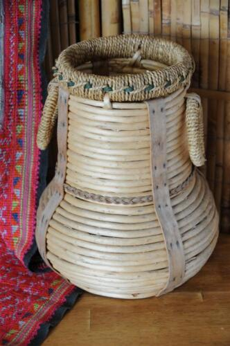 Old Hand Made Basket Vase with Handles…  has a wonderful style...