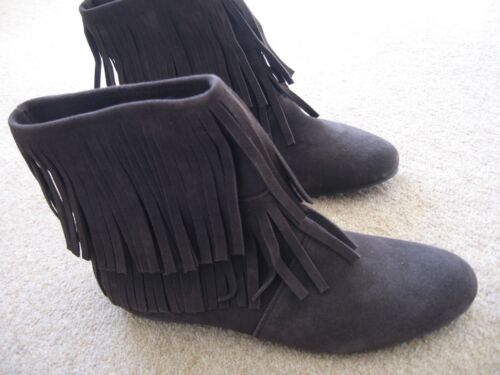 Fringed Boots La Redoute Brand Chocolate Brown Suede size 5