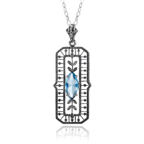 Authentic Sterling Silver Pendant Chain Aquamarine Crystal Necklace Link Blue