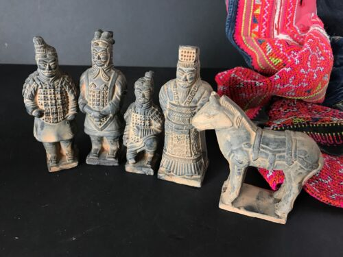 Old Chinese Pottery / Terracotta Army Figurines Set of Five...