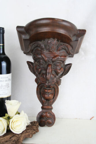 Exclusive Antique 19thc French DEVIL wood carved head wall console rare gothic