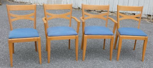 SET 4 HEYWOOD WAKEFIELD DINING CHAIRS - 2 ARM 2 SIDE - M 553 - CHAMPAGNE