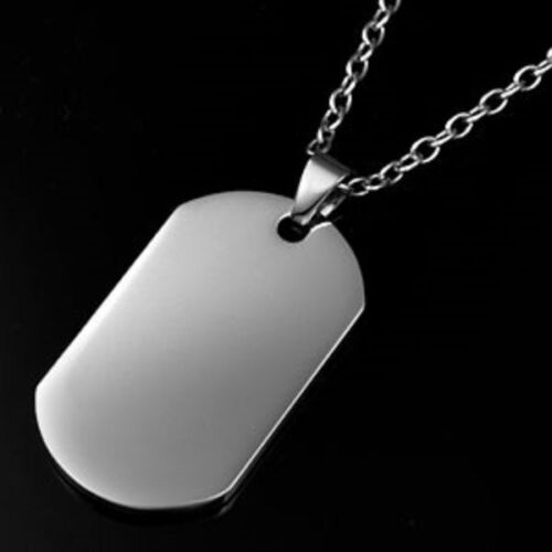 Silver Dog Tag Necklace Stainless Steel 60cm Chain