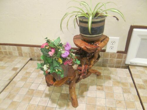 VTG RUSTIC REDWOOD NATURAL TURNING BURL TWO TIER TABLE PLANT STAND AMZING DETAIL